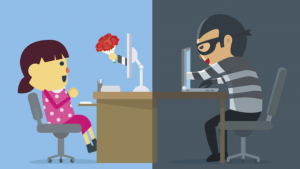 A cartoon picture of a little girl and a little boy dressed as a bandit at the desk table.