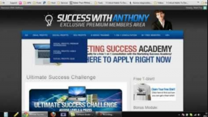 the blue and white home page of success with anthony program website