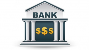 A cartoon picture of a bank with three dollar signs inside it