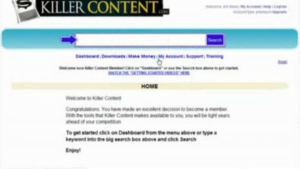 a view of the killer content system's website showing that it is legitimate