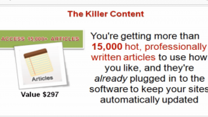 a view of a notebook showing that thousands of professionally written articles are included in your killer content system membership
