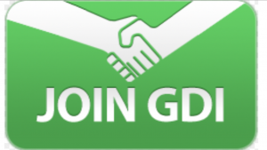 A green and white picture showing two hands shaking with the words join GDI below it