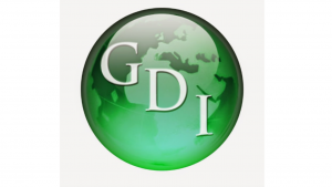 A picture of a green planet with the letters GDI inside it