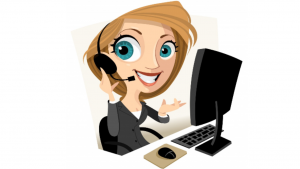 a cartoon picture of customer service agents working