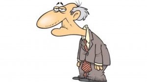 a cartoon picture of a tired white old man
