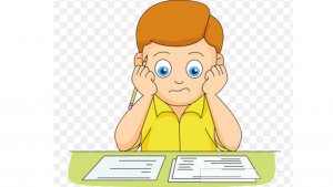 a cartoon picture of a boy thinking