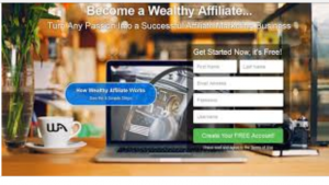 A picture of the wealthy affiliate homepage