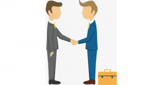 A cartoon picture of 2 men in business suits, shaking hands