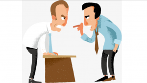A cartoon picture of two men having a hearing conversation