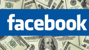 A picture of 100 dollar bills and the words Facebook