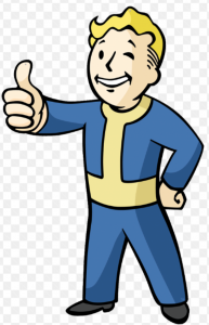 A cartoon picture of a man standing with his hands up