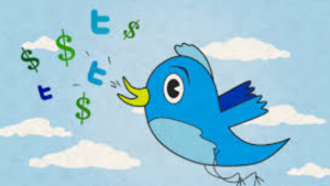 A cartoon picture of a blue bird blowing out dollar and Twitter signs, while flying thru the sky