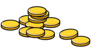 A cartoon picture of twelve gold coins