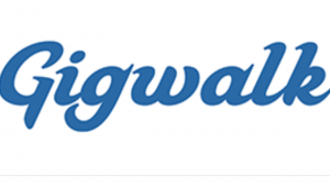 A white and blue logo snap shot of the words Gigwalk