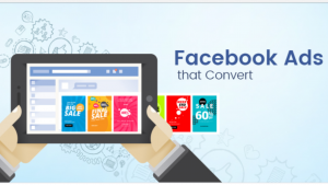 A cartoon 3D picture of 2 hands holding an ipad, with the word's Facebook ads that convert