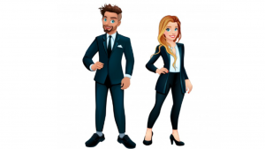 a cartoon picture of a man and a women in a suit
