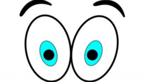 a cartoon picture of two big eyes open really wide staring really hard