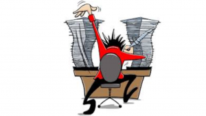 a cartoon picture of a man working extremely hard on a writing