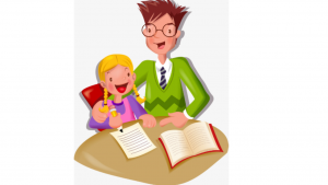 a cartoon picture of a man tutoring a young child