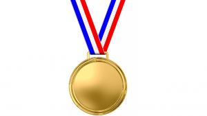 a cartoon picture of a gold metal