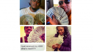 4 different pictures in one, of 4 different people holding money