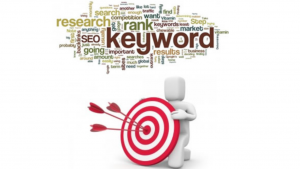 A screen shot of the word keyword and a bunch of other words, along with a 3D white man holding a dart board with darts in it