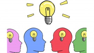 A cartoon picture of a light bulb and 4 different color heads with light bulbs inside them