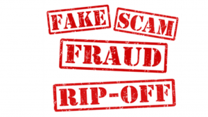 A picture of red words that spell out fake, scam, fraud, and rip-off