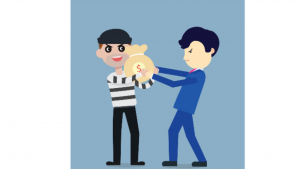 A cartoon picture of a robber and a guy in a blue suit pulling in a money bag