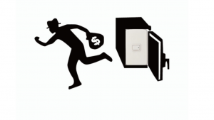 A black and white cartoon picture of a guy holding a bag running away from a safe