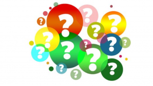 A colorful picture of a bunch of question marks inside different color circles