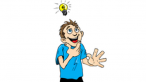 A cartoon picture of a young boy having a bright idea and a light bulb above his head