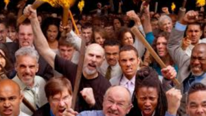 a picture of an angry crowd booing