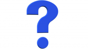 A picture of a blue question mark with a white background