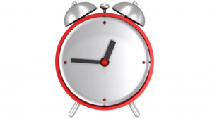 A picture of a 3d red clock
