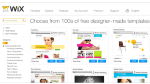 a screen shot picture of Wix website page