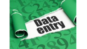a green black and white picture of Data Entry