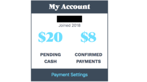 a picture of the usejewel website, my account, pending cash, and confirmed payments
