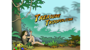 A screen shot picture of the TreasurETrooper homepage and logo