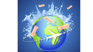 A cartoon picture of a plane flying around a globe, earth, colored basically in orange, white, blue, and green