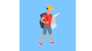 A color cartoon picture of a man with a book bag traveling looking at a map.