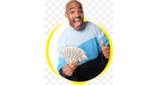 A real life picture of a bold black man holding money with his right hand, while giving a thumbs up with the left hand