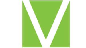 A green and white picture of the letter V